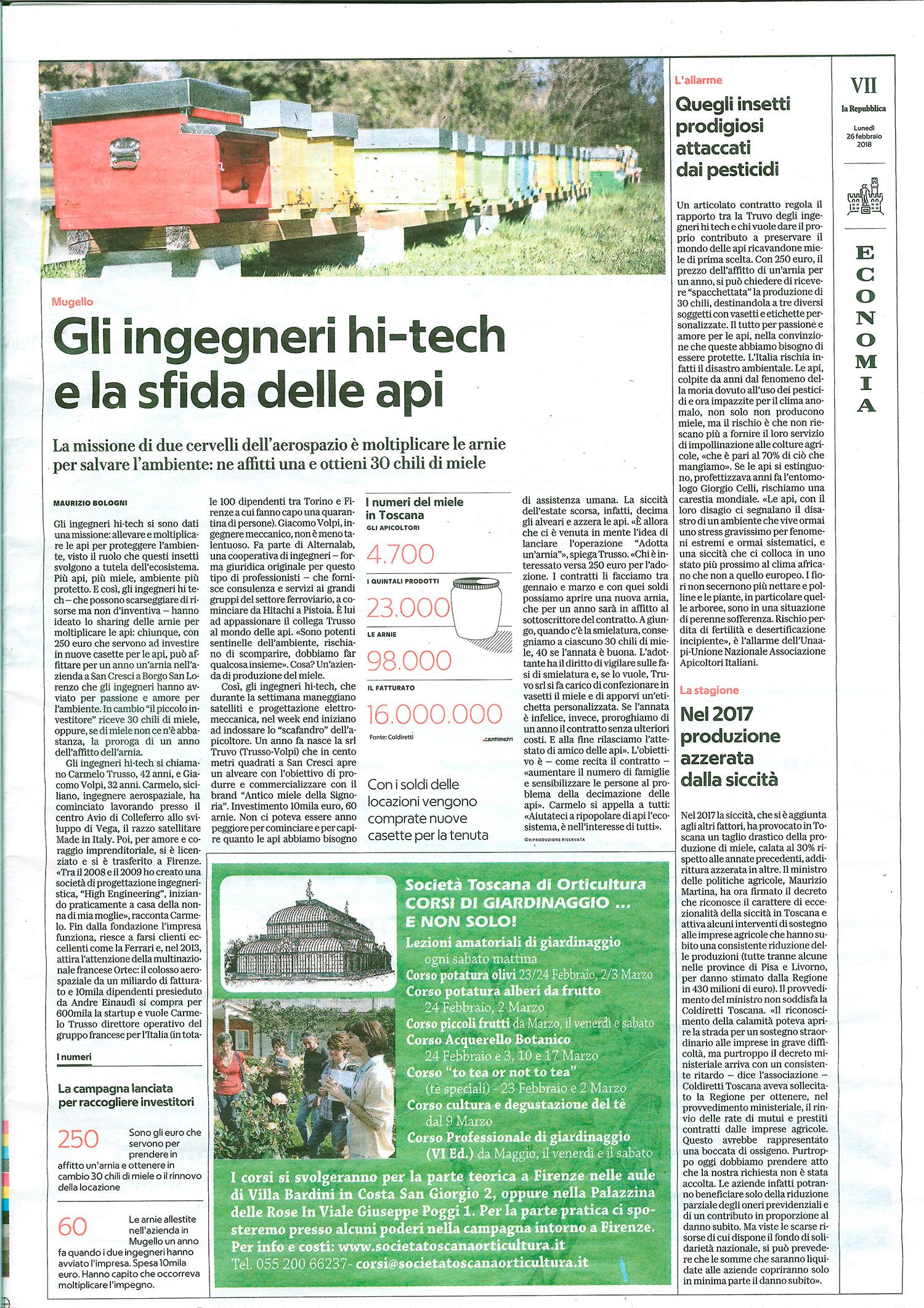 Articolo La Repubblica Firenze, 26 febbraio 2018